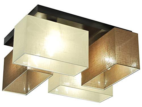 Deckenlampe - HausLeuchten JLS41BRECD - 4 Varianten, Deckenleuchte, Leuchte, Lampe, 4-flammig, Massivholz (BRAUN / ECRU) -