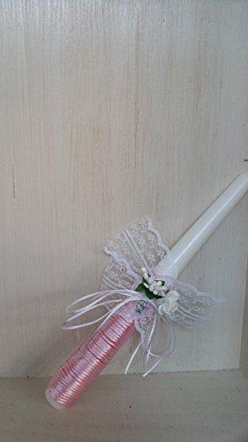 Taufkerze für Mädchen 250/22 mm transparenter Geschenkkarton. Arbeit von Handerledigt - 2