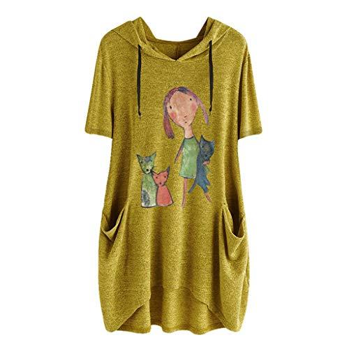 iHENGH Damen Top Bluse Lässig Mode T-Shirt Frühling Sommer Frauen Bequem Blusen Casual Print Lange Ärmel Seitentasche Mit Kapuze Unregelmäßige Tops Shirts(Gelb-2, L) -