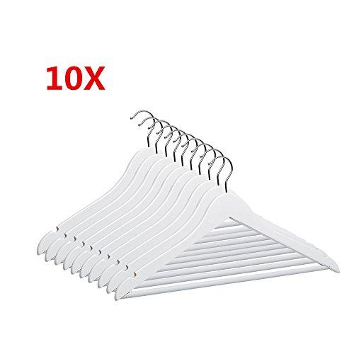 MERITON Holz Kleiderbügel Garderobenbügel Holzbügel mit Rutschfestem Hosenstange Weiß (10 Stück) (Stück Kleiderschrank 10)