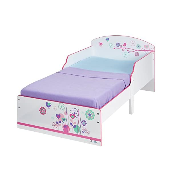 Flowers and Birds Kids Toddler Bed by HelloHome  Ideal transition from cot to bed - make the move to her first big bed magical with the Flowers and Birds toddler bed from HelloHome Takes cot bed size mattress - 140cm (l) x 70cm (w). Mattress not included. Assembled size (h)59, (w)77, (l)142cm Suitable for 18 months to 5 years this pink kids' bed is perfect for your little toddler! 2