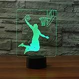 Luce Notturna,Controllo Remoto 7 Colori Led Sleep Nightlight 3D Basketball Rebound Dunk Lampada Da Tavolo Kids Touch Button Usb Lampara Light Fixture Home Decor Regali