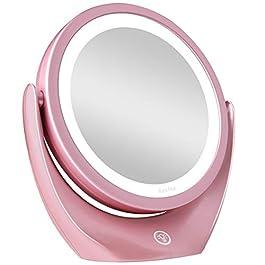 5x Specchio Ingranditore per Trucco con Luce LED, Specchio Cosmetico da Viaggio Illuminato a Doppia Faccia con Interruttore Tattile Dimmerabile, 3 Livelli di Luminosità, Rotazione libera a 360°