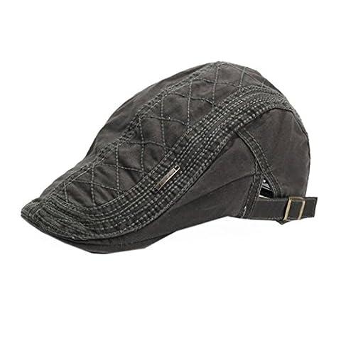 BéRet Casquette,OverDose Printemps LéGèRe Coton Vintage RéTro Hat Flat Cap (Gris)
