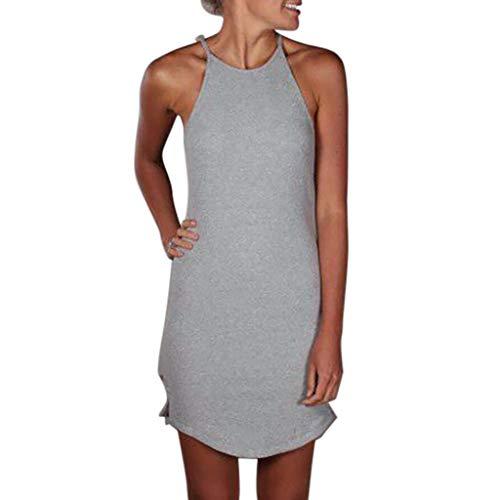 iHENGH Damen Sommer Rock Lässig Mode Kleider Bequem Frauen Röcke Solide Ärmelloses Minikleid Camisole Sommerkleid(Grau, ()