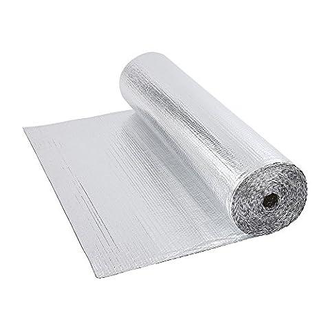 Biard Double Aluminium Bubble Foil Insulation - 1.2m x 10m (12m2) Roll 12 Square Metre - Floor Loft Wall Boat Motorhome Shed - 200g per