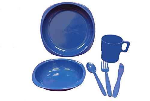 1 Person Camping Picnic Dining Set Plate Mug Bowl and Cutlery Dark Blue