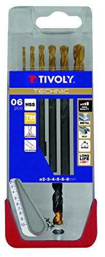 Tivoly A21 - Pack de 6 brocas para metal DIN 338 HSS + TIN (diámetro de 2, 3, 4, 5, 6, 8 mm)