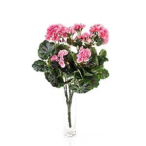 artplants.de Decorativa Mata de geranios Merle, Rosa, 45cm, Ø 25cm – Planta Artificial – Flor sintética