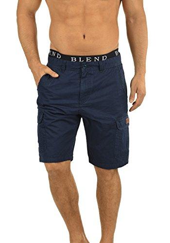 Blau Karierte Cargo-shorts (BLEND 20702259ME Crixus Cargo Shorts, Größe:M;Farbe:Navy (70230))