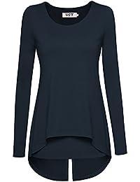 DJT Damen Langarmshirt Rundkragen Asymmetrisch Faux Twinset T-Shirt