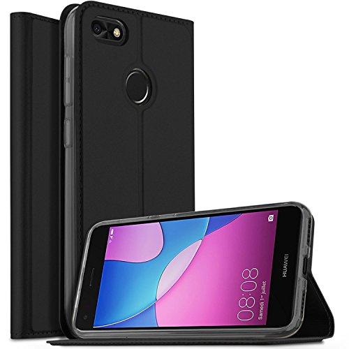 Huawei Y6 Pro 2017 Hülle, KuGi Huawei Y6 Pro 2017 Flip Bookstyle Kompletter Schutz Mit Magnetverschluss und Standfunktion Tasche Etui Cover Case Schutzhülle für Huawei Y6 Pro 2017 Smartphone (Schwarz)