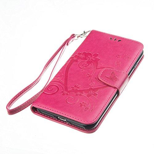 Cover iPhone 7 Plus 8 Plus 5.5 Portafoglio Ribaltabile ,Feeltech Wallet Custodia Pelle Sintetica Coperture Soft Bumper Interno TPU Supporto Lusso Moda Sbalzato Cuore Serie Farfalle Case - Bianca Rosso