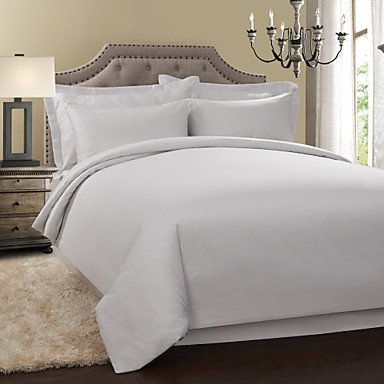 PU&PU simple&opulence® 300tc 100% coton couette couverture solide ensemble , King-White , King-White