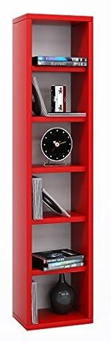 VCM 12066 Elementa Système d'Archivage pour 102 CD Bois Verre Rouge 91,5 x 21 x 20 cm