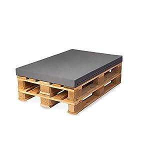 TexDeko Palettenkissen, Palettensofa, Palettenpolster, Matratzenkissen (120x80x8cm) Schaumstoff für Europalette, Hundekissen, Auflage (in Grau mit wasserabweisendem Bezug)