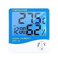 روليكساكي LCD رقمي داخلي مقياس حرارة الرطوبة في غرفة ° C درجة فهرنهايت درجة حرارة الرطوبة مقياس متر منبه ساعة ثيرمو-هايرميتر مع ضوء خلفي أزرق