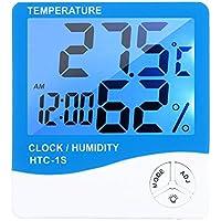 Docooler Termoigrometro da interno, termometro digitale igrometro ℃ / ℉ misuratore di umidità di temperatura Sveglia con retroilluminazione blu