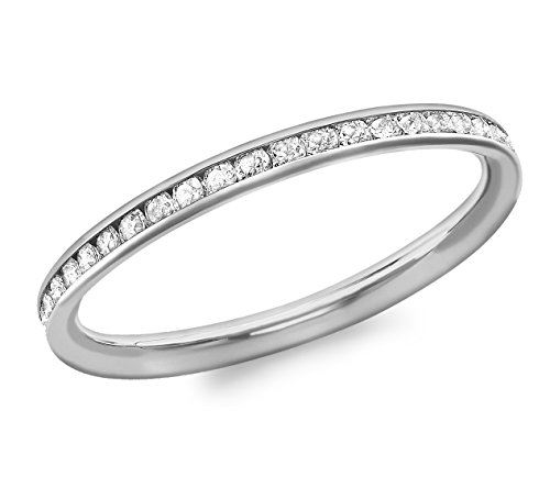 Carissima Gold Ring 9k (375) Weißgold Zirkonia Band - Größe L (Rose Gold Und Weißgold Ringe)