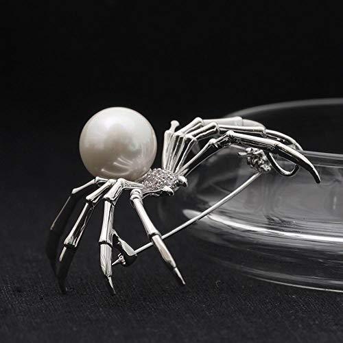 Ludage Exquisite Schwarz-weiß-Insekt Persönlichkeit Faux Perlen Spider Brosche Pin Legierung Brosche
