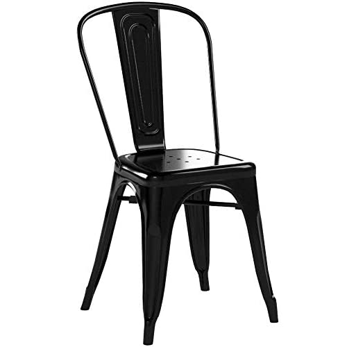 Marko Furniture Siena Metal Dining Chair Stackable Industrial Vintage Style Seat Bistro Cafe Kitchen (4 Chairs, Black)