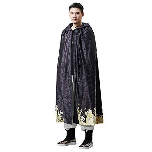Männlich Kostüm Chinesische - SHIYAREN Halloween-UmhangVintage Gold Dragon Kapuzenmantel Mantel männlichen chinesischen Stil gedruckt Herren WindjackeGotischer Umhang