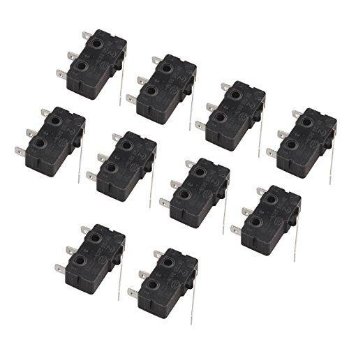 haljia 10 5 A 250 V Micro Switch Lange Gerade Scharnier Hebel 3 Pins 3 Terminals Momentary Endschalter für Arduino -