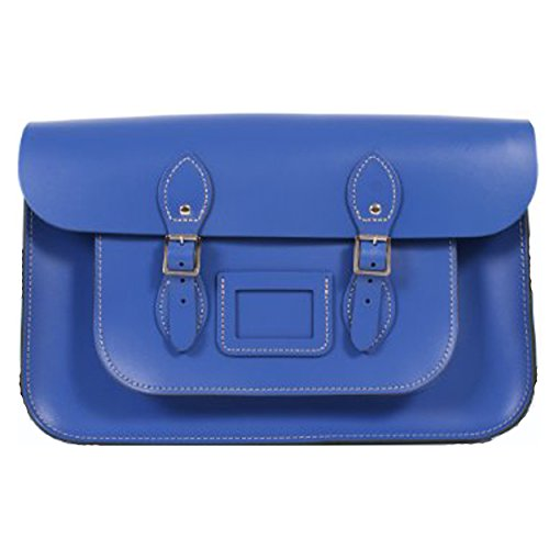 38,1cm Deep Leder handgefertigt Vintage Classic Retro Fashion, Laptop/Schule Messenger Taschen blau (Gelben T-shirt Zitat)
