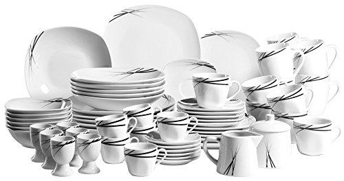 Josef Mäser GmbH Linea Nera - Vajilla completa (62 piezas, para 6 personas), diseño moderno