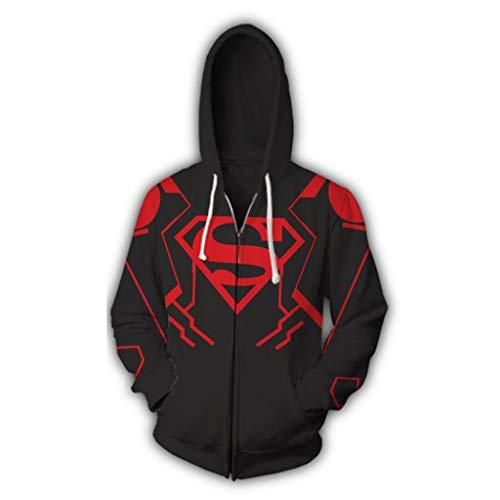 Superheld Sweatshirt Superman 3D Print Zip Hoodie Hero Herren Sweatshirt Mann Wei Anime,Black,L