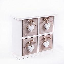 Cajonera de madera Mini Shabby con 4cajones con corazón, 24 x 10 x 22centímetros