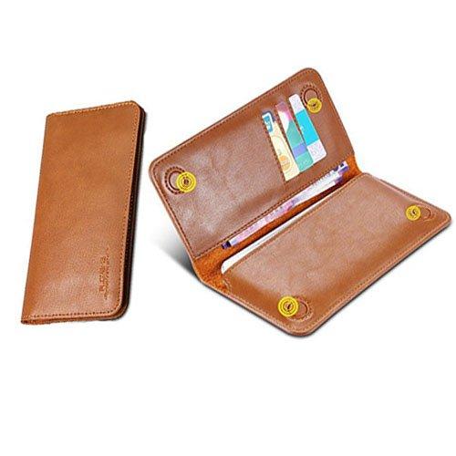FLOVEME Universal Geldbörsen Brieftasche Handyhülle aus Echt Leder Premium Book Wallet 2 in 1 Schutzhülle Folio Cover mit Karte Slots 5.5 Zoll Hellbraum