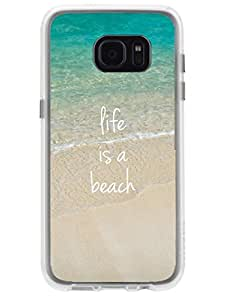 Samsun S7 Edge Cover - Life is a Beach - Designer Printed Hard Case with Transparent Sides