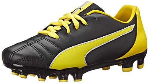 Puma Marco 11 Firm Ground Jr Soccer Shoe (Infant/Toddler/Little Kid/Big Kid) Black/Vibrant Yellow/Puma Silver