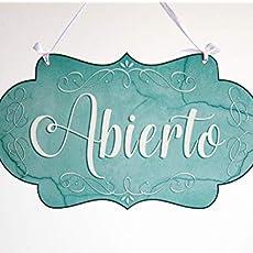Abierto/Cerrado - letrero de madera colgante de la puerta de la tienda de doble cara (efecto mármol azul)
