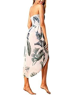 Lrud Damen Bohemian Blumendruck Schulterfrei Knielang Strandkleid Schwarz Weiß Sommerkleid Frauen Bademode