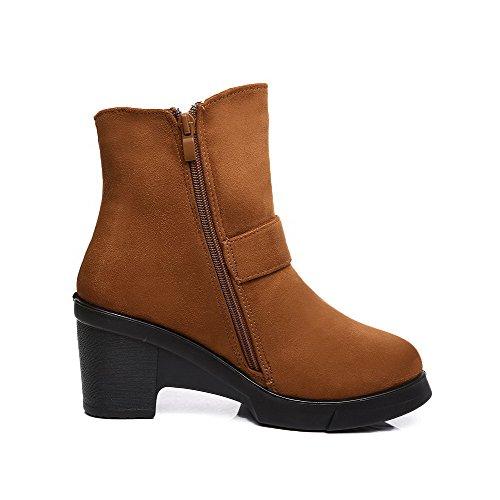 AllhqFashion Damen Hoher Absatz Niedrig-Spitze Rein Reißverschluss Stiefel mit Metallisch, Braun, 35