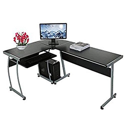 Computertisch Schreibtisch, Sondereu L- Form PC Bürotisch Arbeitstisch mit ausziehbare Tastaturablage und Wiege für Home und Office, 3-teiliger, Schwarz (Tastaturablage Mit Schreibtisch)