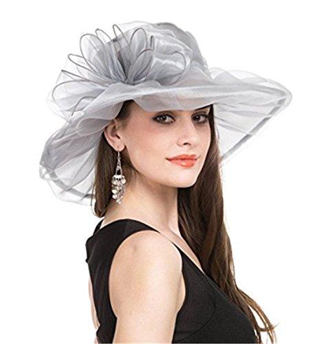 ZYCC Fascinator Brautparty Pillbox Hut Tee Party Hochzeit Derby, Frauen Organza Kirche Kentucky Derby, Lady Hat, Sonnenhut, Sommer Hut, Strand Reise Hut (Grau)