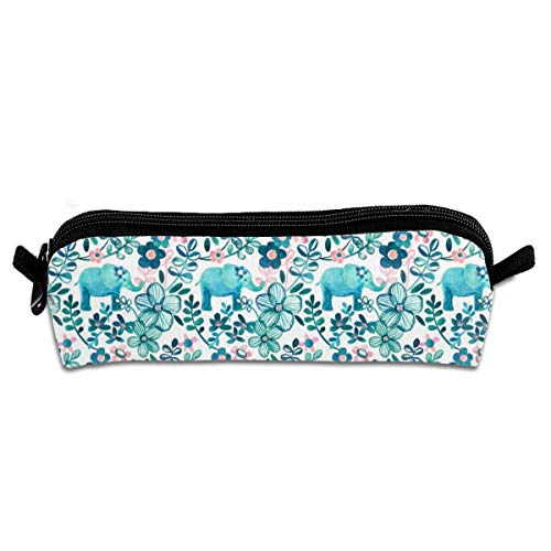 Little Teal Elephant Watercolor Floral On White Pencil Pouch Bag Stationery Pen Case Makeup Box with Zipper Closure 21 X 5.5 X 5 cm