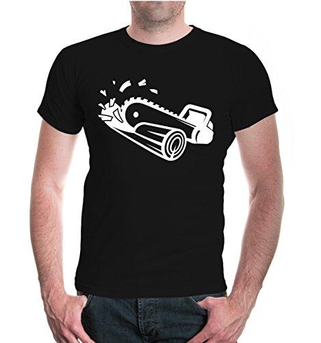 buXsbaum Herren Unisex Kurzarm T-Shirt bedruckt Kettensäge | Waldarbeiter Forstarbeiter Holzfäller | XL black-white Schwarz