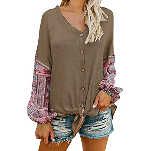 (iHENGH Damen Tops, Women V Neck Tie Knot Front Henley Shirt Button up Patchwork Cardigan Bluse)