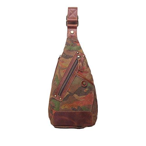 Herren Taschen Brust Casual Fashion Wild Camouflage Retractable Messenger Bag Männer & Frauen Umhängetasche Leinentasche Brown