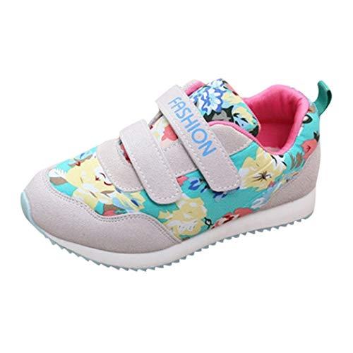 Voberry@ Voberry@ Girl's Flower Print Sneaker Lightweight Dual Strap Rubber Sole Sport Running Shoe
