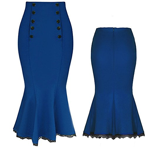 Kenancy Damen Bleistiftrock Hohe Taile Bodycon Fishtail Minirock Business Knöpfe Röcke Mehrfarbig Blau