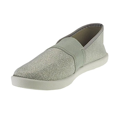 Slipper Damenschuhe Fashion4young Silber Damenslipper 20011 Metallic Textil effekt Stoffschuhe q4T6UxR