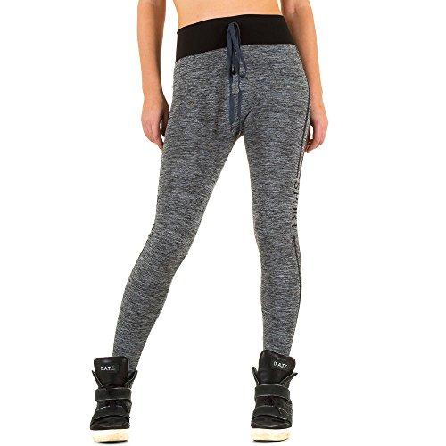 Damen Leggings Jogahose Gefütterte High Waist Hochbund Jogginghose Grau ONE SIZE (Low Bootleg Rise Jeans)