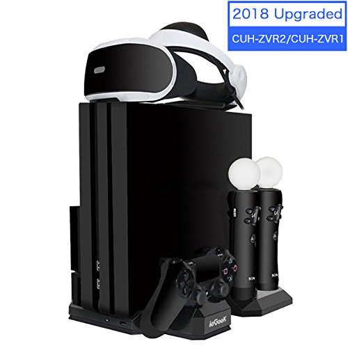 Verbesserte ieGeek PSVR / PS4 / PS4 Pro / PS4 Slim [All-in-1] Vertikaler Standfuß Kühler Lüfter, Ladestation für PS Move und DS4 Controller, Halterung für PlayStation 4 VR [CUH-ZVR2 & CUH-ZVR1]
