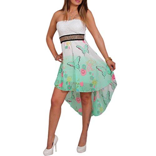 Chiffon Bandeau Kleid Vokuhila Strass Spitze Cocktailkleid Party Schmetterling (Grün)