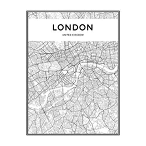NBHHDH Bilder Auf Leinwand Moderne Schwarzweiss-London-Stadtkarten-Reise-Kontur-Karten-Bilder-Leinwand-Malerei-Plakat-Druck-Wand-Kunst-Ausgangsdekoration, 30 × 40Cm Kein Rahmen -